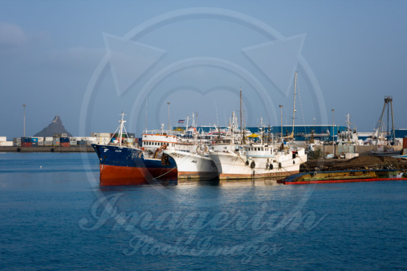 Old cargo ships in the port terminal of  Sao Vicente island, Cape Verde