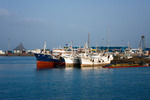 Image of port. Old cargo ships in the port terminal of  Sao Vicente island, Cape Verde