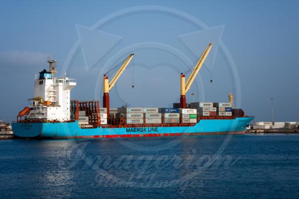 Maersk Line cargo container ship Volta in port of Sao Vicente, Cape Verde