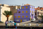Image of colorful. Violet building, colorful architecture of Mindelo Town, Cape Verde in Africa