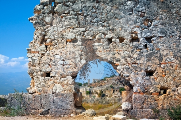 Ancient walls of ruins in Tlos City