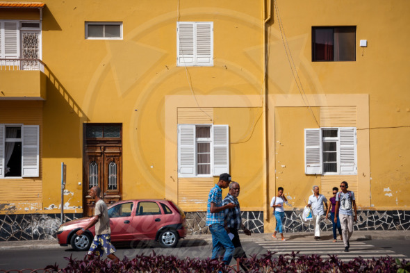 Everyday life in Mindelo, people in the streets, Cape Verde