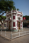 Image of Sao Vicente. Mindelo Kiosk Cafe landmark, white red building at Praca Nova Square