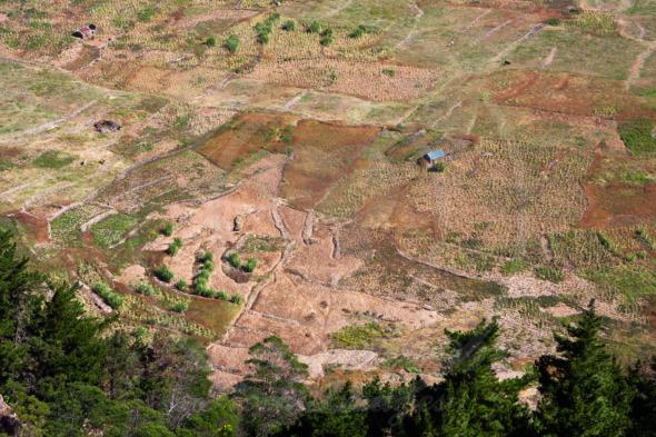 Farmlands inside the extinct volcano, Cova Crater in Cape Verde