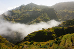 Image of volcanic. Santo Antao landscape Cape Verde. Montains in clouds