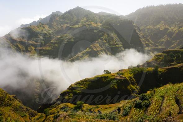 Santo Antao landscape Cape Verde. Montains in clouds