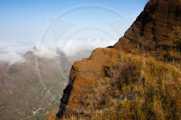 Cabo Verde landscape, volcanic edge in mountains of Santo Antao