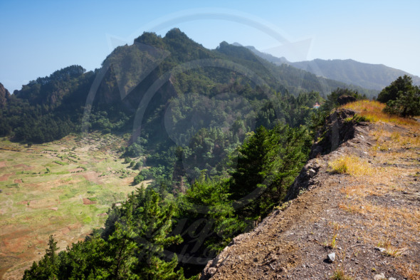 Cabo Verde, Africa path at the extinct volcano Cova Crater  mountains