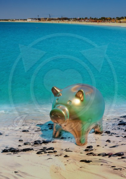 Save money for the future, piggy bank on the beach, 3D illustration