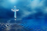 Image of baptism. Christian holy water cross in blue clouds, miracle concept, 3D illustration
