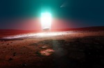 Image of scifi. New energy source light beam on Mars, levitating rock, 3d illustration