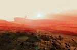Image of alien. Space base radar dish in the planet Mars sunset landscape