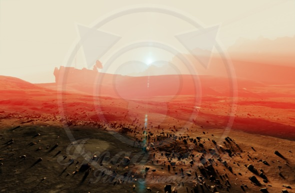 Space base radar dish in the planet Mars sunset landscape