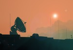 Image of martian. Satellite antenna dish silhouette of the space base