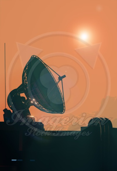 Satellite antenna dish close up. Space base on Mars