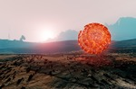 Image of alien. Landscape of Mars, floating spherical structure of unknown  energy