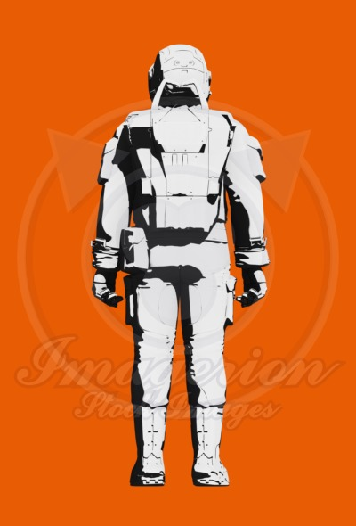 Astronaut space suit comfortable design. Rear view line art rendering