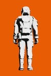 Image of space. Astronaut space suit comfortable design. Rear view line art rendering
