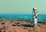 Image of terraforming. Astronaut at the beach, wearing a space suit. Water on Mars or another planet