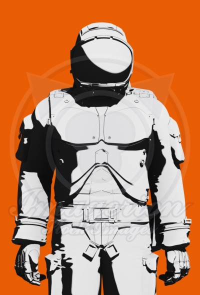 Astronaut space suit design line art, ready for Mars